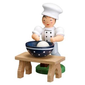 Bäckerkind Bäckerjunge+Schüssel+Tisch ESCO Volkskunst Deko Seiffen NEU 9359