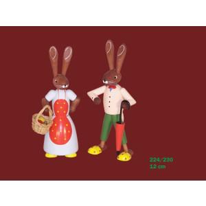 Osterdekoration Osterhasenpaar bunt Höhe 12,5cm NEU