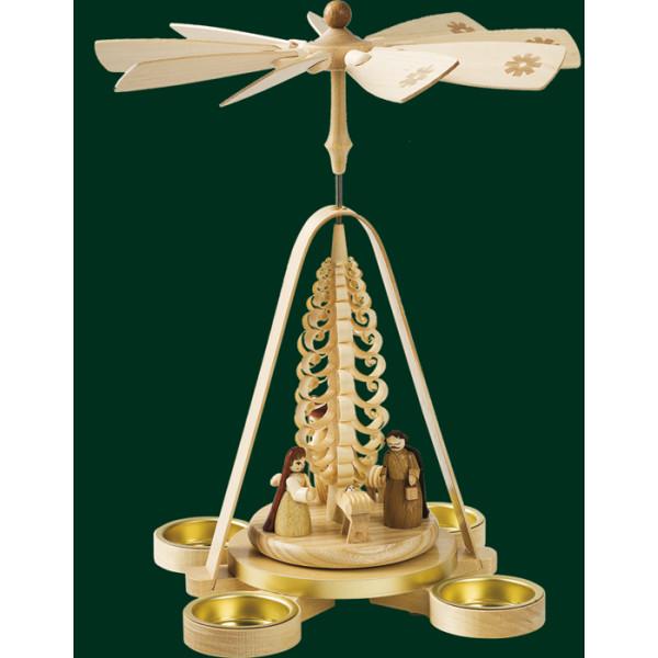 Tischpyramide Christi Geburt Teelichter Pyramide Volkskunst Erzgebirge NEU 16688