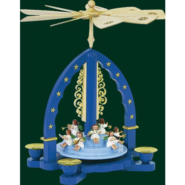 Tischpyramide Heilige Engelkonzert Blau Pyramide Handarbeit Erzgebirge NEU 01605
