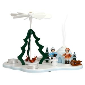 Tischpyramide Winterkinder mit Schneemann bunt und Räucheriglu HxLxB 33x21x22cm NEU