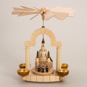 Teelicht Pyramide - natur Dresdner Frauenkirche mit Sänger 4 Teelichter 0472 NEU