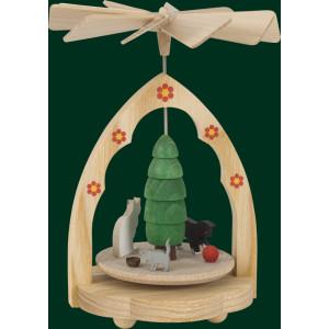 Wärmespiel mit Kätzchen Tischpyramide Pyramide Handarbeit Erzgebirge NEU 01715