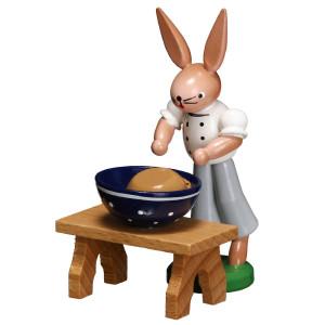 Bäckerhase mit Schüssel 7,5 cm Ostern Volkskunst Oster Deko Seiffen NEU 9141