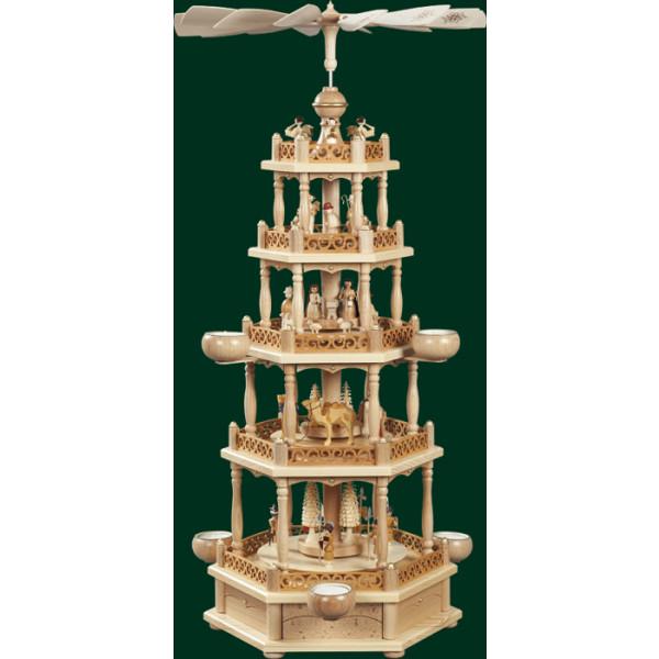 Tischpyramide Christi Geburt Teelichter Pyramide 4 Stöckig Erzgebirge NEU 16704