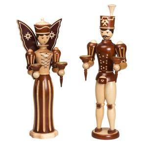 Weihnachtsfiguren Engel und Bergmann braun groß H= 43cm NEU