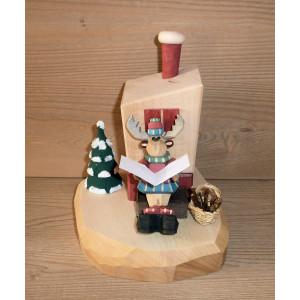 Elch am Räucherofen geschnitzt 14 cm bunt Weihnachtsfigur NEU