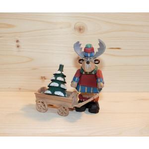 Elch mit Wagen und Baum geschnitzt 9 cm bunt Weihnachtsfigur NEU