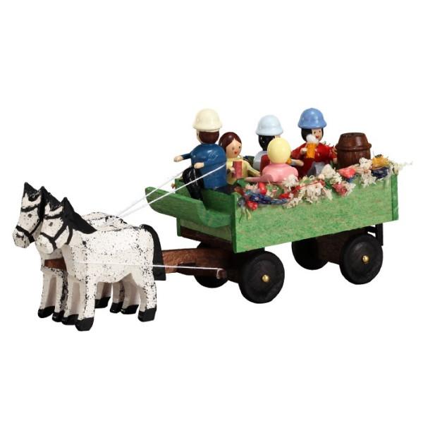 Pferdegespann Kremserwagen Miniaturgespann Länge 9cm NEU