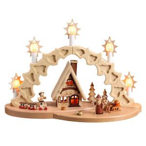 Schwibbogen Bescherung Weihnachtsmann elektrisch HxLxB 40x17x29cm NEU