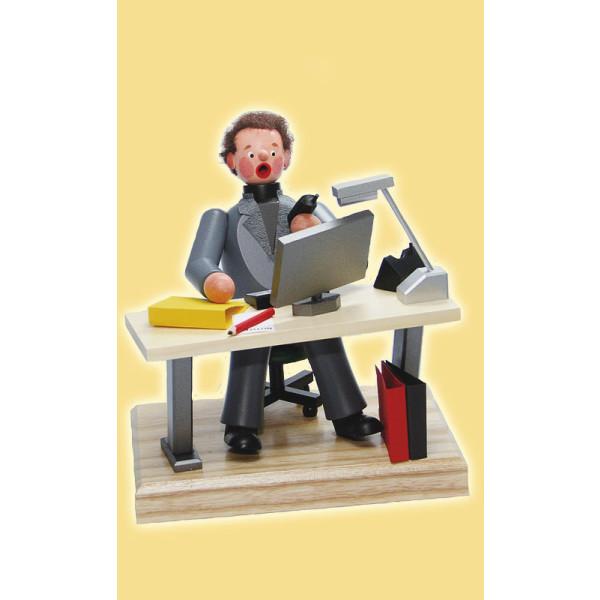 Räucherfigur Räuchermann Computer Arbeitsplatz 20cm Seiffen NEU
