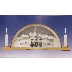 Schwibbogen mit Kurrende und elektrischer Hintergrundbeleuchtung BxH 33x14cm NEU