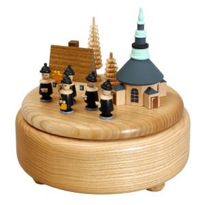 Weihnachtsdekoration Spieldose mit Spielzeugdorf und Kurrende BxHxT 13x13x13 cm NEU