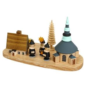 Weihnachtsdekoration Kerzenhalter Seiffener Kirche und Kurrende Höhe 7,5 cm NEU