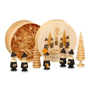 Weihnachtsdekoration Spanschachtel mit Kurrendefiguren Ringelbaum schwarz Höhe 5 cm NEU