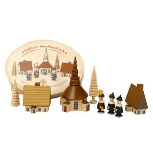 Weihnachtsdekoration Spanschachtel mit Dorf Seiffen und Kurrende natur LxBxH 10x5x8cm NEU