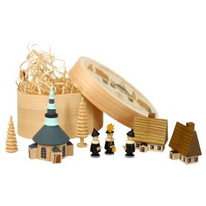 Weihnachtsdekoration Spanschachtel mit Dorf Seiffen und Kurrende bunt Höhe 7 cm NEU