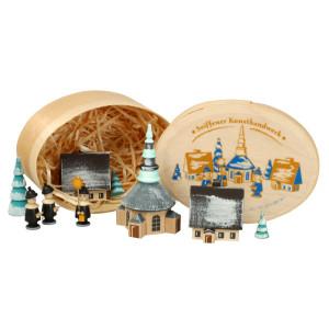 Weihnachtsdekoration Spanschachtel mit Dorf Seiffen und Kurrende winterlich Höhe 7 cm NEU