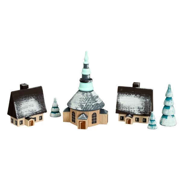 Weihnachtsdekoration Dorf Seiffen mit Ringelbäumchen winterlich Höhe 7 cm NEU