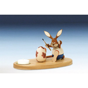 Tischdekoration Kerzenhalter Osterhase sitzend bunt Teelicht Größe 12 cm NEU