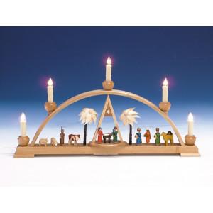 Fensterdekoration Schwibbogen Christi Geburt elektrisch bunt Länge 52cm NEU