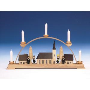 Fensterdekoration Schwibbogen Schneeberger Kirche bunt Länge 43 cm NEU