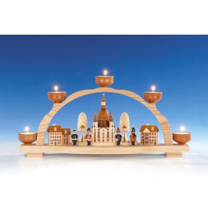 Fensterdekoration Schwibbogen Frauenkirche Dresden natur Teelicht Länge 47 cm NEU