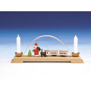 Fensterdekoration Schwibbogen mit Eisenbahn & Weihnachtsmann bunt Länge 26 cm NEU