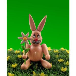 Hase mit Blume 14 cm Osterhasen Osterdeko Erzgebirge NEU
