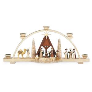 Lichterbogen Schwibbogen Christi Geburt mit Krippe natur (LxBxH):47x10x20cm NEU