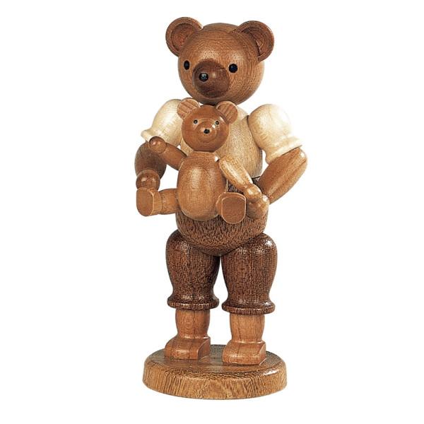Bärensammelfigur Bärenvater mit Kind natur klein Höhe 10 cm NEU