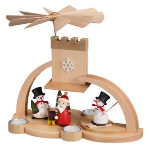 Bogenpyramide Schneemann mit Weihnachtsmann bunt BxHxT 33x28x18,5cm NEU