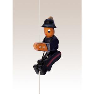 Kletterfigur Feuerwehrmann Weißes Kletterseil , Länge ca. 45 cmHöhe der Figur ca. 6,5 cm NEU
