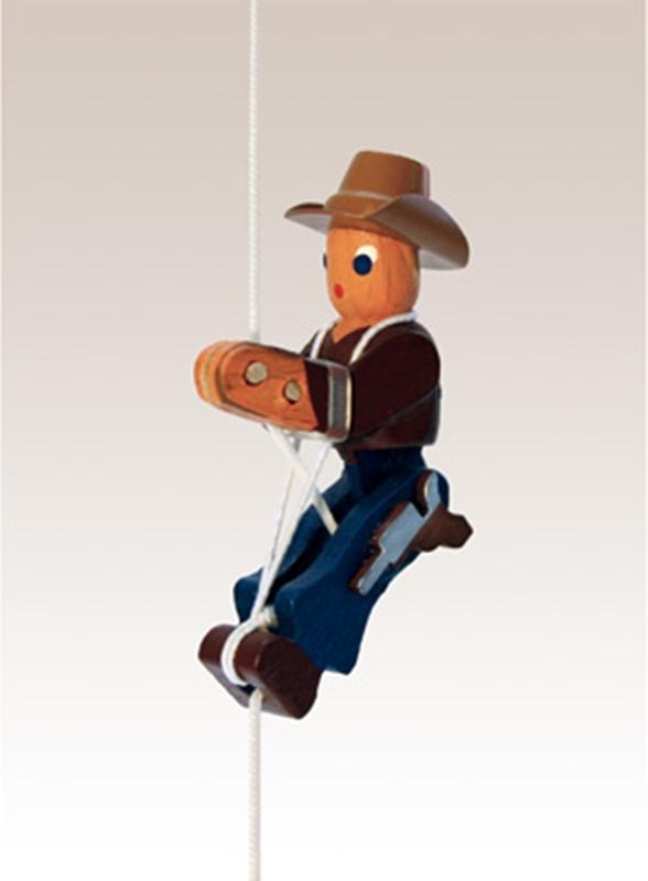 Kletterfigur Cowboy Weißes Kletterseil , Länge ca. 45 cmHöhe der Figur ca. 6,5 cm NEU