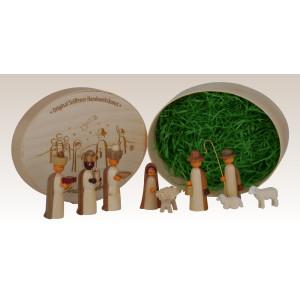 Miniaturen Christi Geburt in Spandose, natur 13,5cmx8cm h=5cm NEU