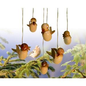 Baumbehang Vogel hängend, natur sortiert, 6 Stück 5cm NEU