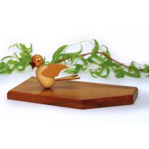 Tischkartenständer natur mit einem Vogel h=5,5cm NEU