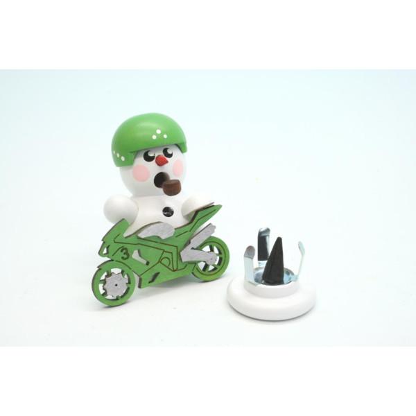 Räuchermann Biker weiss mit grünen Motorrad 8 cm NEU