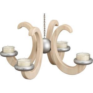 Lichterkranz Hängeleuchter mit 4 Armen und Teelichter Esche HxBxT = 16x33x33cm