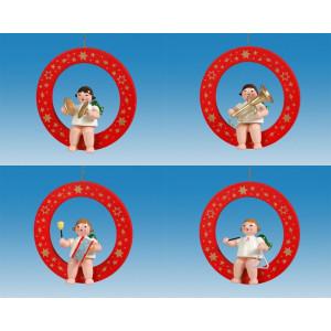 Baumbehang 4-teilig / Engel im roten Ring ohne Krone Höhe ca 6 cm NEU