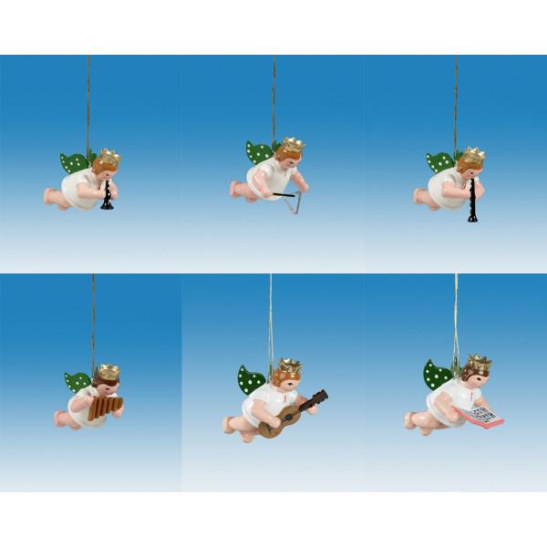 Baumbehang 6-teilig / Schwebeengel mit Krone Höhe ca 6 cm NEU