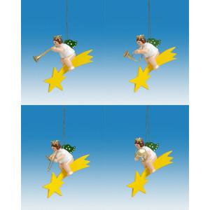 Baumbehang 4-teilig / Engel auf Sternschnuppe mit Krone Höhe ca 6 cm NEU