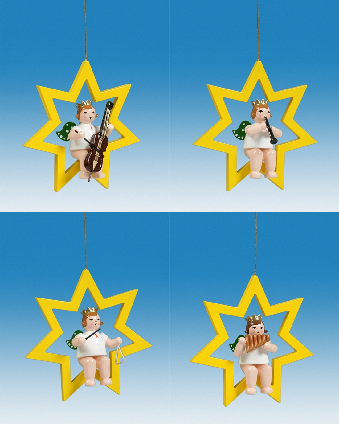 Baumbehang 4-teilig / Engel im Stern mit Krone Höhe ca 6 cm NEU