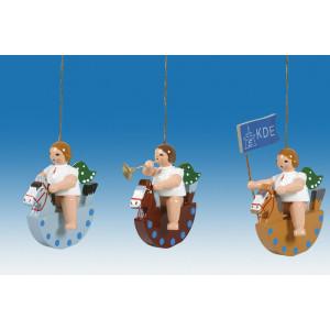 Baumbehang 3-teilig / Engel auf Schaukelpferd mit Krone Höhe ca 6 cm NEU