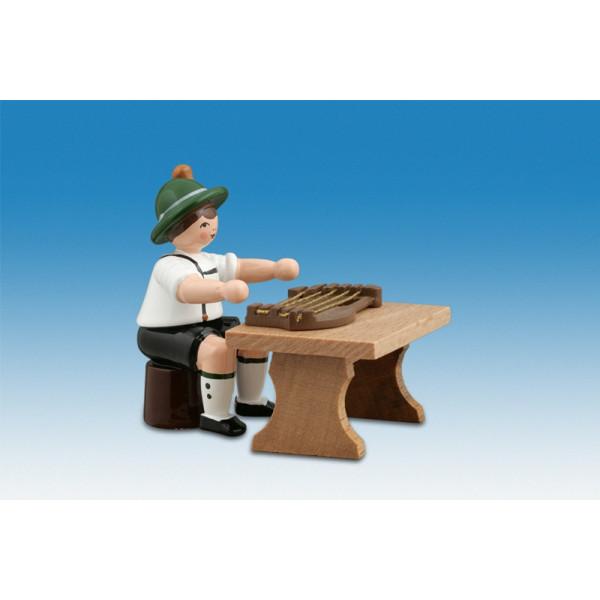 Ganzjahresfiguren Musikant sitzend mit Zither Höhe ca 7cm NEU
