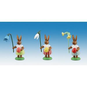 Osterhasen Hasen mit Ei und Blumen 3-teilig Höhe ca 7,5 cm NEU