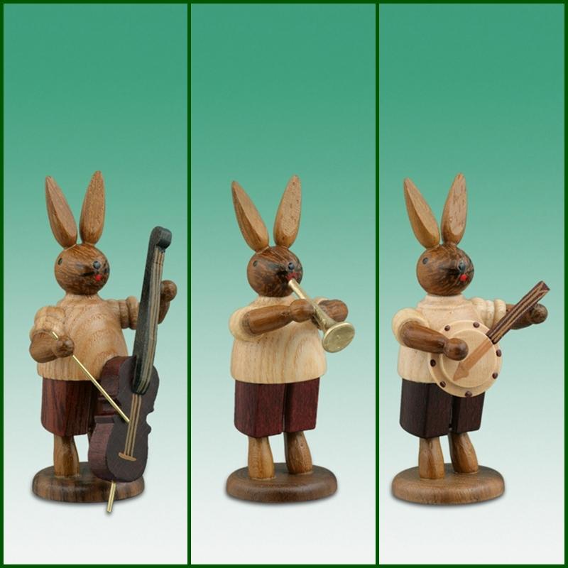 Osterhasen Hasenmusikanten 3-teilig / natur Höhe ca 7,5 cm NEU