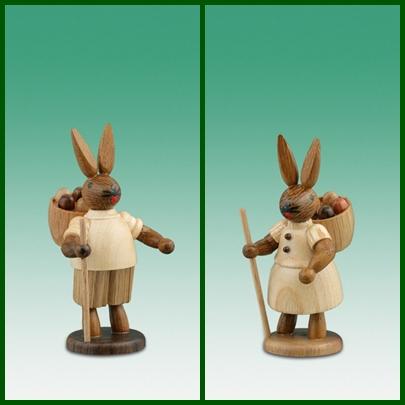 Osterhasen Hasenpaar mit Eierkorb / natur Höhe ca 7,5 cm NEU