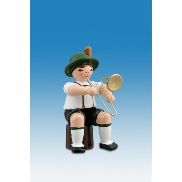 Ganzjahresfiguren Musikant sitzend mit Posaune Höhe ca 7cm NEU