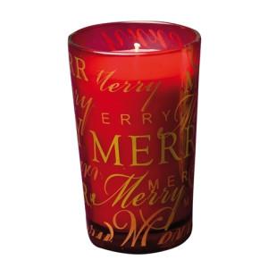 1er Glas Merry Christmas, rotmit Zimtduft Höhe 11cm NEU